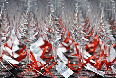 Wine glasses at Clos Pegase Winery