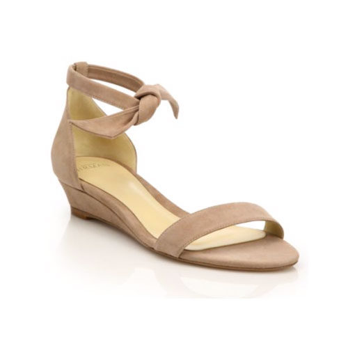 Alexandre Birman Clarita Suede Ankle-Tie Demi-Wedge Sandals