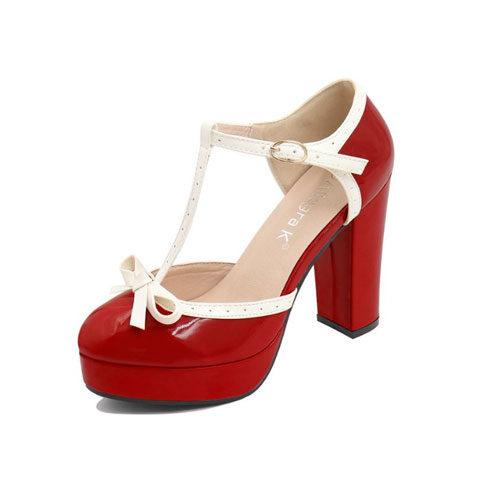 Allegra K Women Bow T-Strap Chunky Heel Platform Patent Pumps